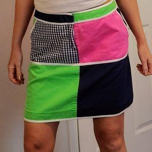 Lilly Pulitzer Classic Print Colorblock Mini Skirt